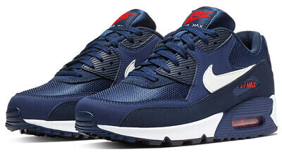 newest 598d6 529c4 Nike Air Max 90 Essential AJ1285-403 MIDNIGHT NAVY UNIVERSITY RED sz 8-