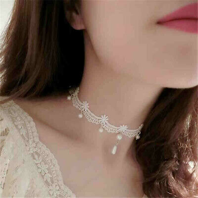 White Lace Choker Bridal Gothic Pendant Necklace Wedding Bride Collar Chain shan