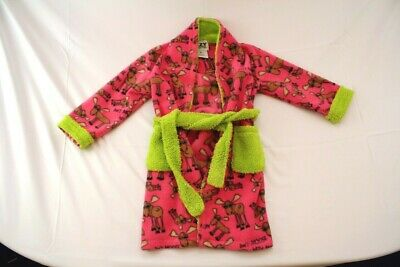 Girls Kids Lazy One Pink Green Moose Pattern Bath Robe Size Small 4-6 Years
