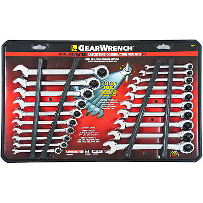 Craftsman 20-Piece Ratchet Combination Wrench Set, Standard SAE & Metric Tools