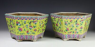 Pair of Antique Chinese Hexagonal Planters with Enameled Design on Yellow Ground