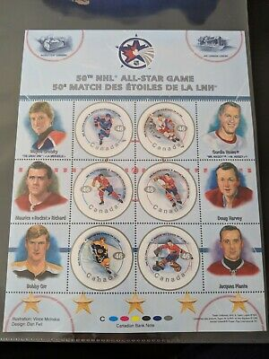 NHL 50th All Star Canada Stamp Rare Sheet