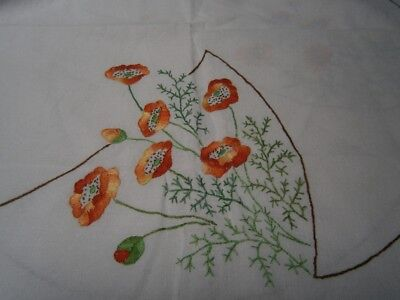Large Square Vintage Hand  Embroidered Linen Tablecloth - Floral Poppy Design