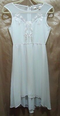 YA LOS ANGELES White FLORAL Embroidered Sheer Sleeveless Skater Dress Sz M
