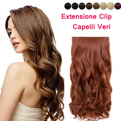 EXTENSION CLIP FASCE CAPELLI MOSSI VERI indiano REMY A 70 GRAMMI REMY HAIR 40 cm