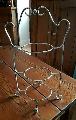 """ANTIQUE EDWARDIAN SILVER PLATED 3 TIER DESSERT CAKE PLATE STAND 14"""" c1920"""