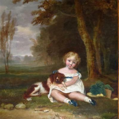 19th Century Painting Beautiful Young Girl Holding King Charles Spaniel in Lands