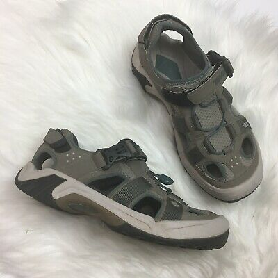 e430a2e53088 Teva Womens Omnium Hiking Water Sport Sandal Sz 8 Taupe Blue 6154 Bungee  Buckle