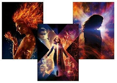X-Men Dark Phoenix: Jean Grey, Cyclops Beast A5 A4 A3 Textless Movie DVD Posters