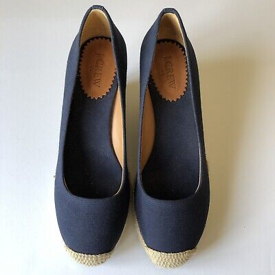 39a230a00de J Crew Factory Navy Blue Wedge Heel Closed Toe Shoes Top Sliders Size 8