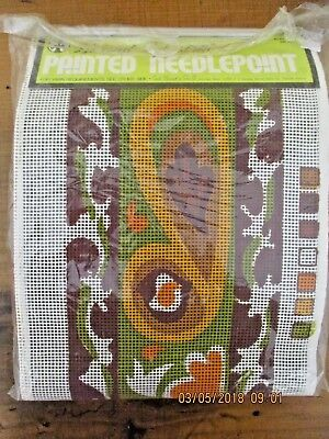 ~Bernat Tapestria Painted Needlepoint Canvas - Teardrop Bell Pull - Retro~