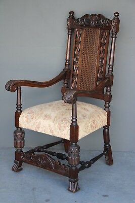 Big antique carved oak Baronial armchair large seat throne chair original ornate