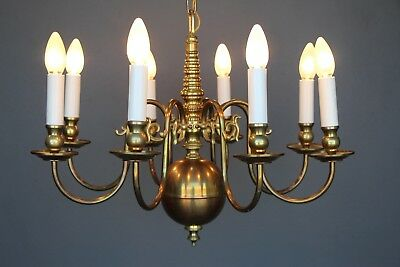 Large antique 8 scroll arm Dutch chandelier provincial brass chain 1930 vintage