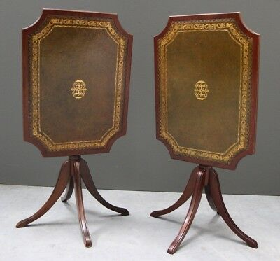 Rare pair antique Georgian Regency style wine tables gilt leather inlaid tops