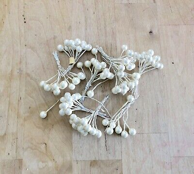 Vintage Millinery Flower Stamen Ivory Brown tip Fine bunch for Hat Bride H IF2