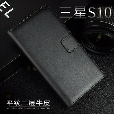 Genuine Leather Flip Wallet Case Cover For Samsung S10+ S5 S6 S7 S8 S9 Note 5 8