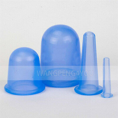 Vacuum Silicone Anti Cellulite Cupping Massage Full Body Facial Cup Therapy Blue
