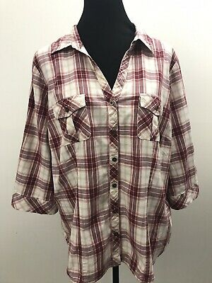 5cc23078744 Sonoma Blouse Womens Plus 2X Maroon Plaid Shirt 3 4 Roll Tab Sleeves Button  Up