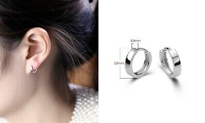 Unisex Woman Man 925 Sterling Silver Circle Hoop Tiny Ring Clip Earring 12mm