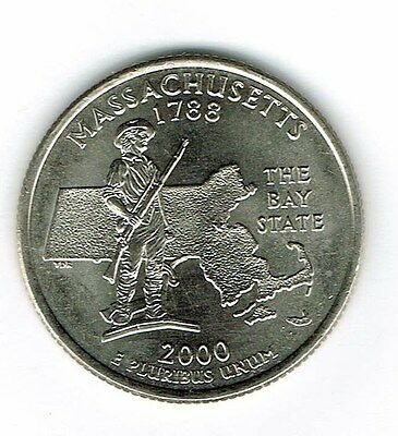 2000-D  Brilliant Uncirculated Massachusetts 6TH State Quarter Coin!