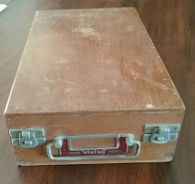Viking Vintage Wooden Film Slide Storage Box 100 Numbered slots