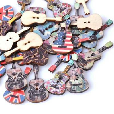 50 Pcs Mixed Wood Buttons 2 Holes Guitar Pattern Sewing Scrapbooking All Match