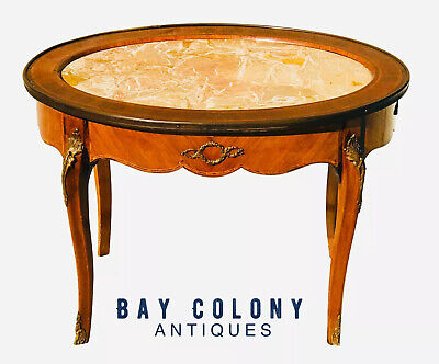 Grosfeld Furniture French Louis Xv Antique Style Marble Top Coffee Table