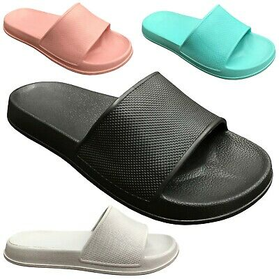 ae5336b9ce483d NEW Womens Slide Sandals Solid Colored Soft Rubber Slip On Flops Shoe Size  S-XL