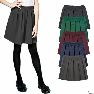 Kids Girls School Uniform All Round Box Pleated Elasticated Waist School Skirt