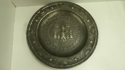 Antique Pewter Plate Stamped Flower Hh Famhouse Rustic Embossed Castle Hands