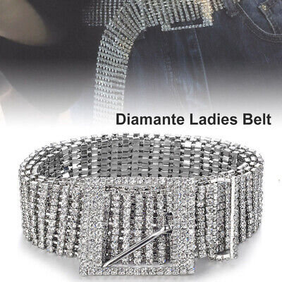 Bling Crystal Wide Chain Belt Women's Full Diamond Glitter Rhinestone Waistband