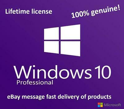 Microsoft Windows 10 Professional 32/ 64bit Genuine License Key Product Code