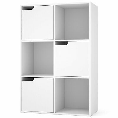White 3 Tier 8 Cube Storage Bookcase Display Shelf Standing Unit with Wood Legs
