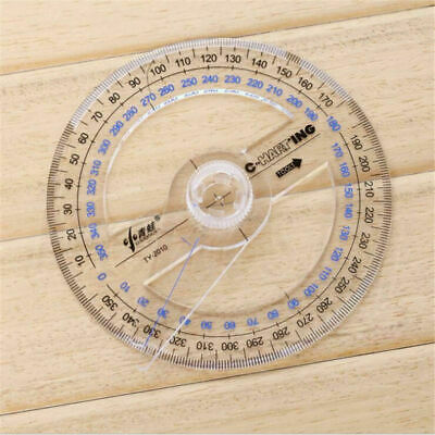 1pcs Plastic 360 Degree Protractor Ruler Angle Finder Swing Arm School Office