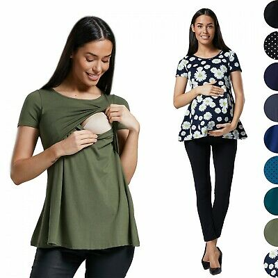 Happy Mama. Women's Maternity Pregnancy A-Line Top Short Sleeve. 099p