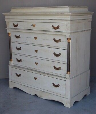 Antique 1820 tallboy chest drawers secret compartment Swedish grey hand painted