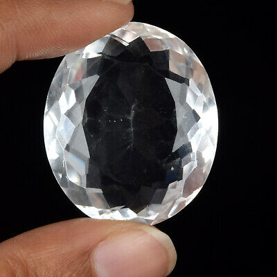 Brazilian Oval Shaped White Topaz 77.00 Ct Faceted Clear Loose Gemstone BT-101