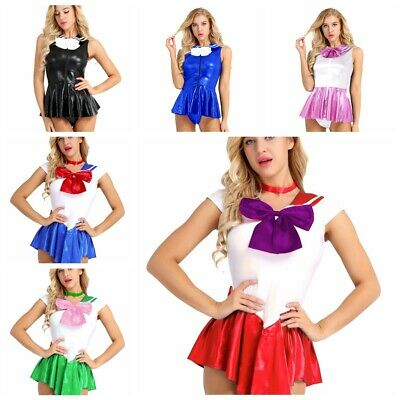 Womens Sailor Moon Costume Cosplay Uniform Fancy Party School Sleeveless Dress