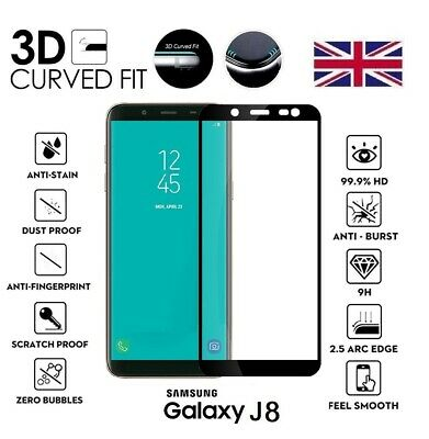 For Samsung Galaxy J8 (2018) Full 3D Tempered Glass 9H Screen Protector Cover