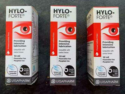 3 x Hylo-Forte Intensive Lubricating Drops 10ml PRESERVATIVE FREE For Dry Eyes