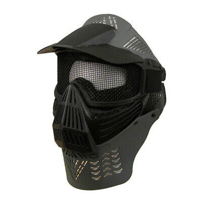 Tactical Full Face Mask Safety Mesh Goggles Neck Protection Airsoft Paintball BK