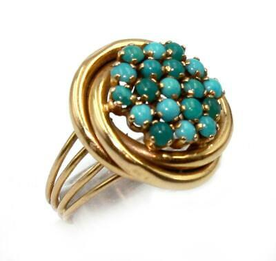 Stunning Vintage 14ct Gold & Turquoise Lovers Knot' Cocktail Ring SIZE M½ Boxed