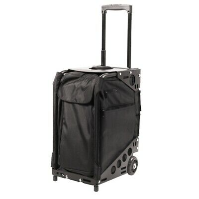 Valise Trolley tabouret coiffure multipoches, tissu noire