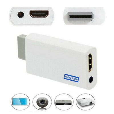3.5mm Audio Video Converter Adapter 1080P HD Upscaling for Wii to HDMI White