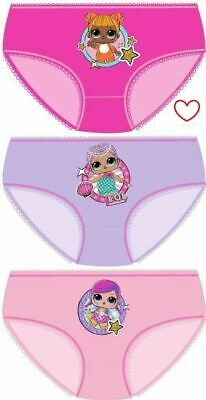 Girls Childrens LOL Surprise Pants Knickers Briefs Underwear 3pk Cotton