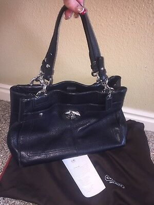 7da0afbd76 Coach Penelope F16531 Black Pebbled Leather Turnlock Carryall Shoulder Bag  Purse