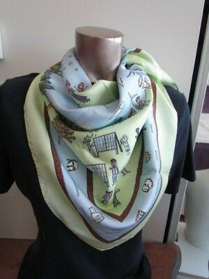 Heavy Twill Silk Scarf Primitive Folk Art Motif Blue Green Ecology Clean Energy