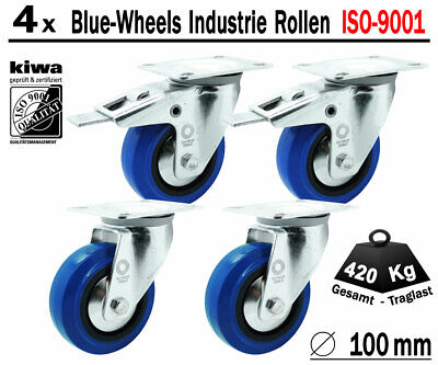 Blue Wheels Industrie Transport Lenk Rollen 4 x Ø 100mm Br-Le / ISO-9001 Germany
