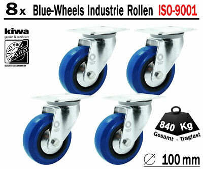 Blue Wheels Industrie Transport Lenk Rollen 8 x Ø 100mm Le-Le / ISO-9001 Germany