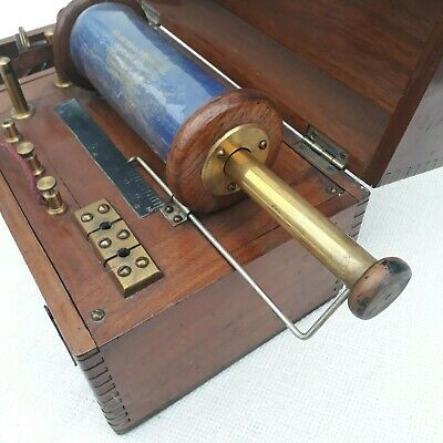 Antique Medical Electric Machine Wood & Brass Professor Ray Carnforth